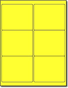 Etiquetas amarillas auto adhesivas.