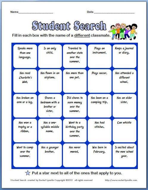 ... use a similar BINGO game as an ice breaker for the first day