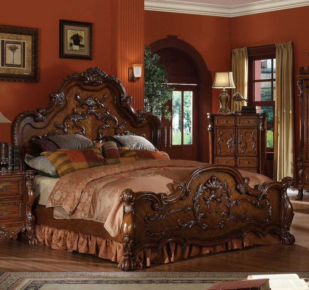Dresden Formal Traditional Antique 1Pc Queen Bed Furniture ...