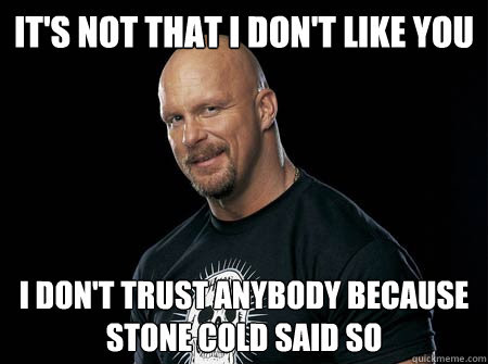Its Not That I Dont Like You I Dont Trust Anybody Because Stone