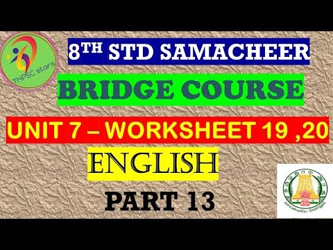 8th English Work Sheet 19 and 20 Bridge Course Answer Key