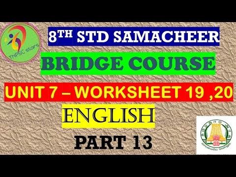 8th English Work Sheet 19 and 20 Bridge Course Answer Key