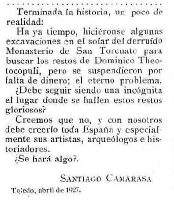 Santiago Camarasa se lamenta en 1927 de la paralización de la búsqueda de los restos del Greco en la revista Alrededor del Mundo