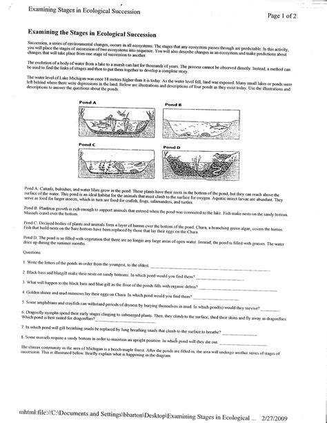 Ecological Succession Worksheet  Homeschooldressage.com
