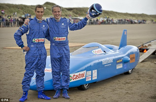 Dream team: Joe and Don Wales are pictured before the run and are the third and fourth generations of the Campbell family to attempt land speed records