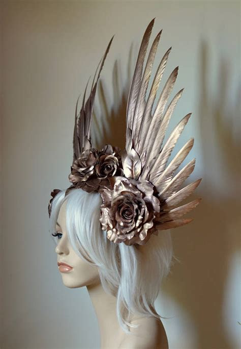 Rose Gold Wings & Roses Headdress   Serpentfeathers
