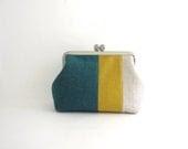 metal frame multi purpose pouch- linen stripe patchwork