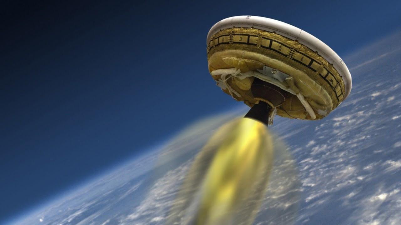 Ilustración de la NASA distribuída el 2 de junio de 2015 que muestra el vehículo de prueba de baja densidad supersonica (LDSD), diseñado para probar las tecnologías de aterrizaje para futuras misiones a Marte. (AFP PHOTO / NASA / JPL-Caltech)