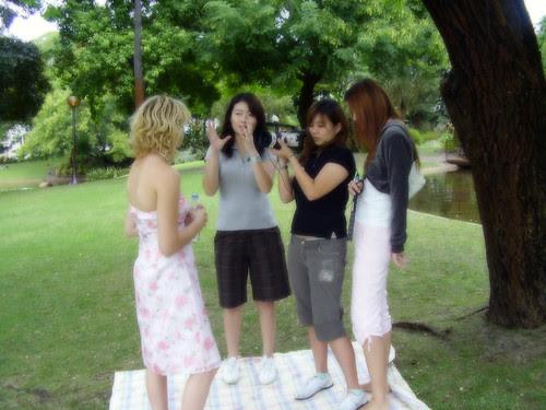 my beautiful crew giving instructions to rachel
