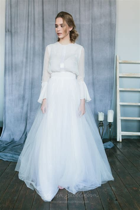 White wedding set from silk blouse and tulle skirt   Anna