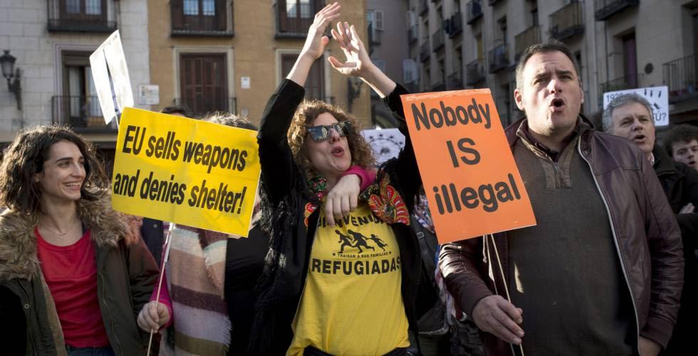 Concentración celebrada en Madrid a finales de febrero a favor de refugiados y migrantes.
