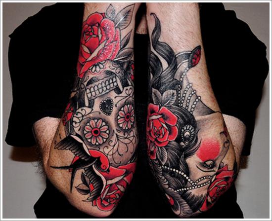 Skull And Roses Tattoo On Sleeve Design Of Tattoosdesign Of Tattoos