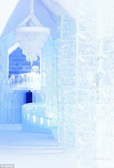 The ornate Hotel de Glace, which has 36 rooms and is rebuilt every month entirely out of ice