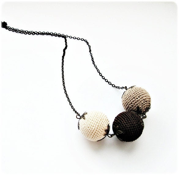 Crochet necklace in color of coffee with cream on chain