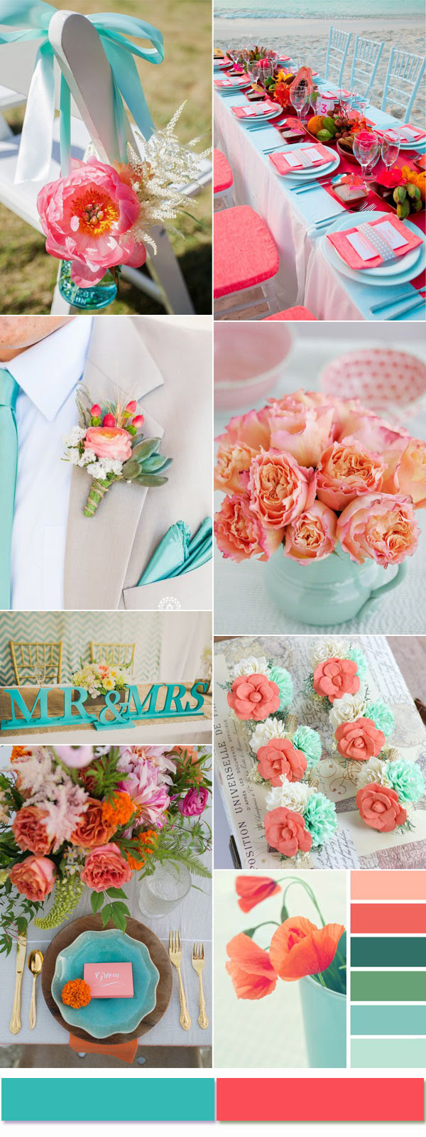 Turquoise And Coral Wedding Decorations