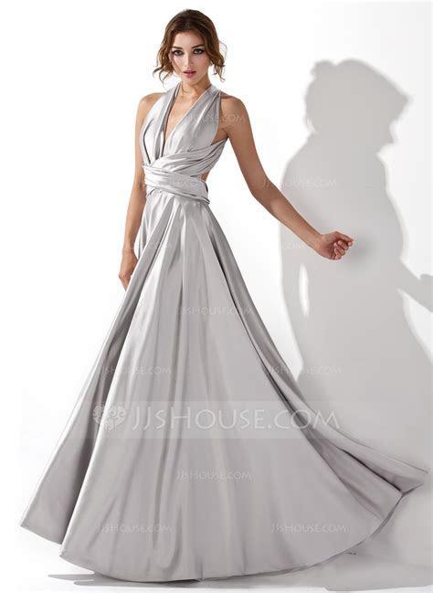 A Line/Princess V neck Floor Length Charmeuse Prom Dresses