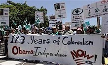 Puerto Rican demonstration against the visit of United States President Barack Obama. Puerto Rico has been a colony of US imperialism since 1898. by Pan-African News Wire File Photos