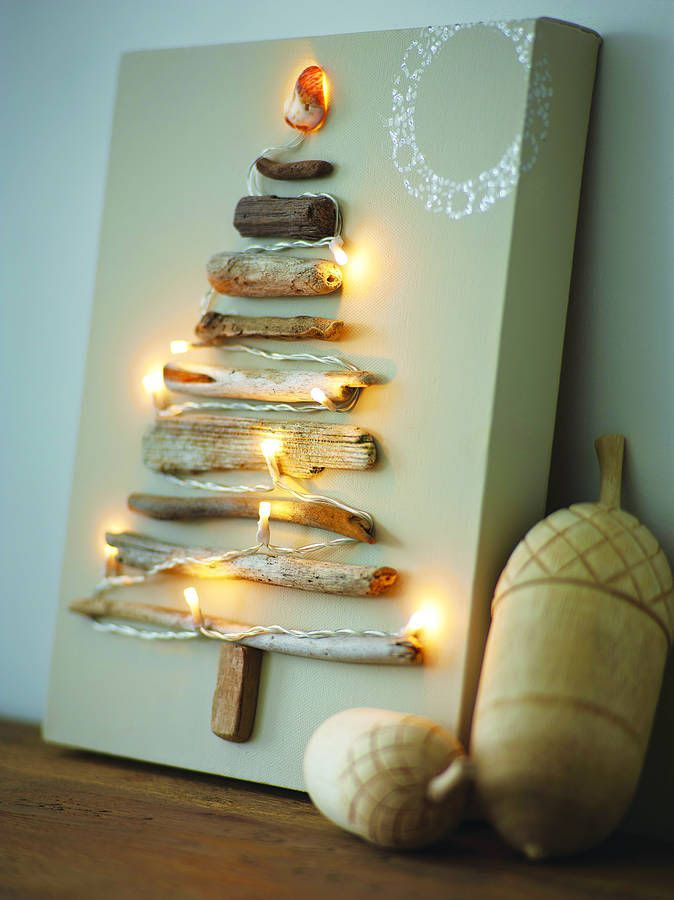 Canvas mounted Christmas Driftwood tree on canvas, adorned with battery fairy lights. White doiley style pattern with silver glitter. £49.00
