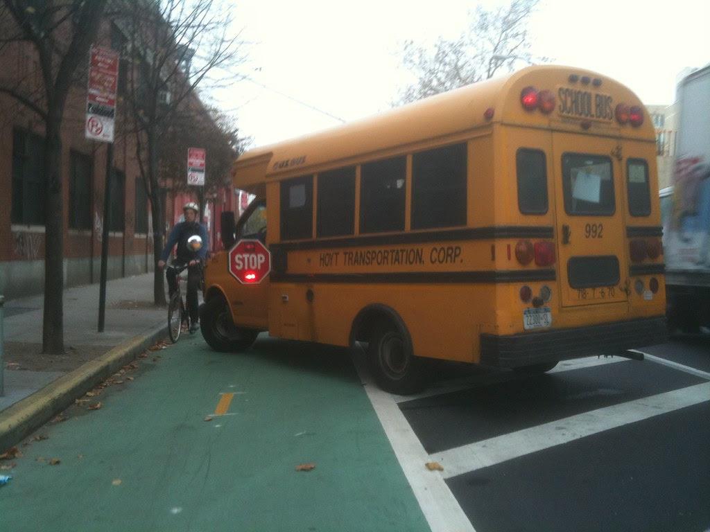 school bus in bike lane