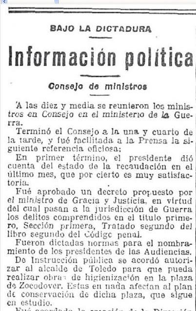 25-12-1925 El Imparcial anuncia la aprobación de las obras de los urinarios de Zocodover