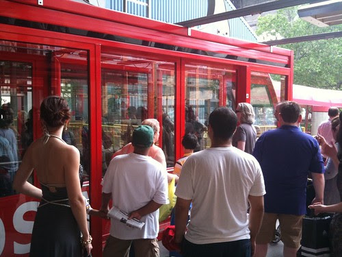 Boarding the tram on Roosevelt Island