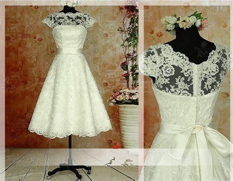 vintage short wedding dress tea length white ivory bridal