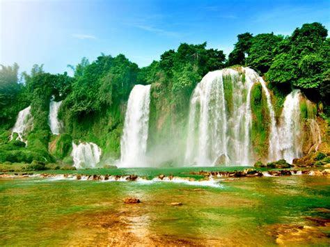 ban gioc detian falls  waterfalls   quay son river