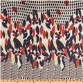 Chiffon Abstract Red/White/Navy