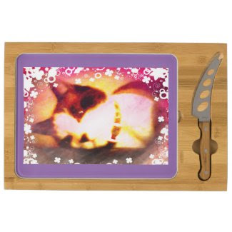 snowshoe fall colors kitty with white flowers rectangular cheese board