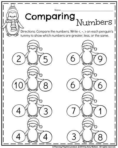 January Kindergarten math worksheets Comparing numbers 1 10