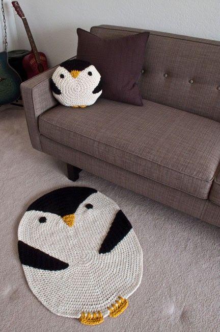 #amigurumi #crochet penguin pillow get them here: http://www.etsy.com/shop/peanutbutterdynamite
