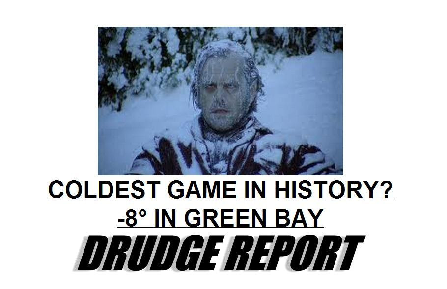Wow.. so DRUDGE is a horror movie fan after all! The SHINING's last scene with Jack Nicholson is the imagery used for his top link about the weather. Good choice, Matt..