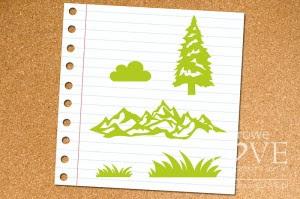 Zestaw stempli gumowych - Góry i choinka - Forest Camp