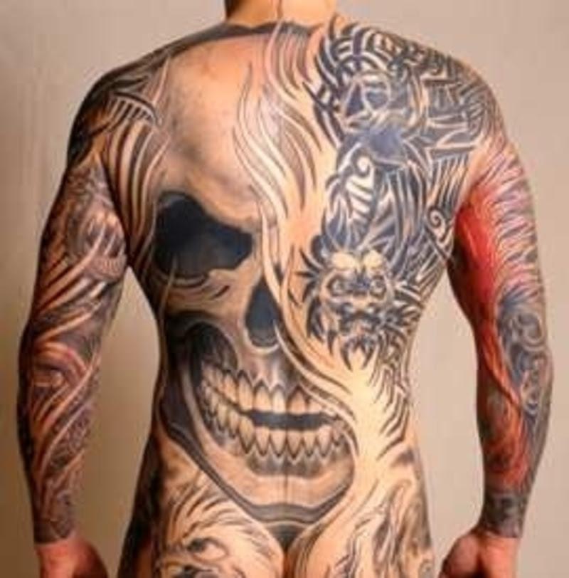 Awesome Grey Ink Devil Skull Tattoo On Back