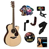 Yamaha FSX720SC Small Body Acoustic-Electric Guitar Bundle w/Legacy Acc Kit (Tuner,DVD, Capo and More)