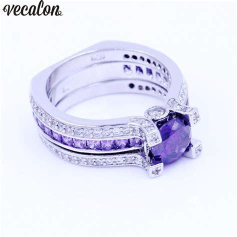 Vecalon Fashion Couple Engagement ring Purple 5A zircon Cz