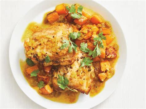 braised chicken thighs  butternut squash recipe food