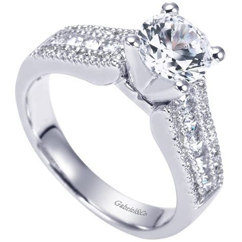 Gabriel & Co. Engagement Rings Three Row .51ctw Diamonds
