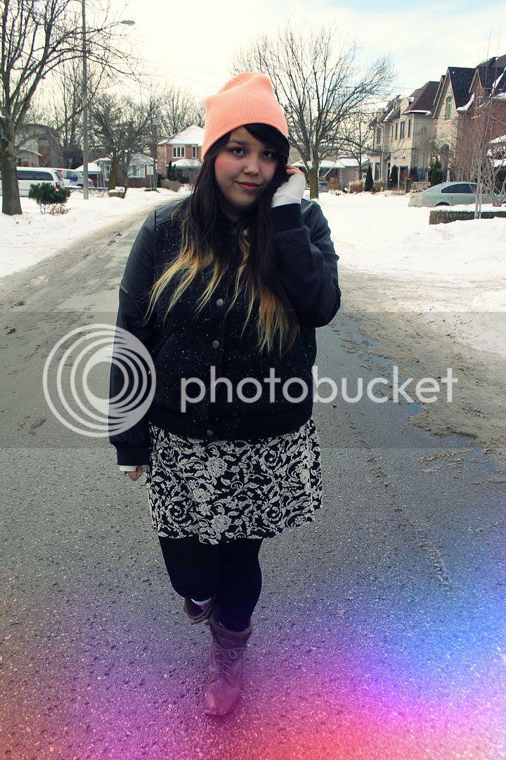 Jessica Ip,Plus size fashion, plus size blogger, orange beanie, plus size varsity jacket, floral skirt, boots, street style