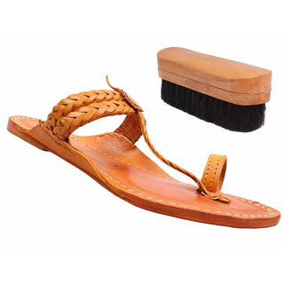 Sushito  Traditional Weni Design Leather Kolhapuri Paytaan With Shoe Brush JSMKCF0103