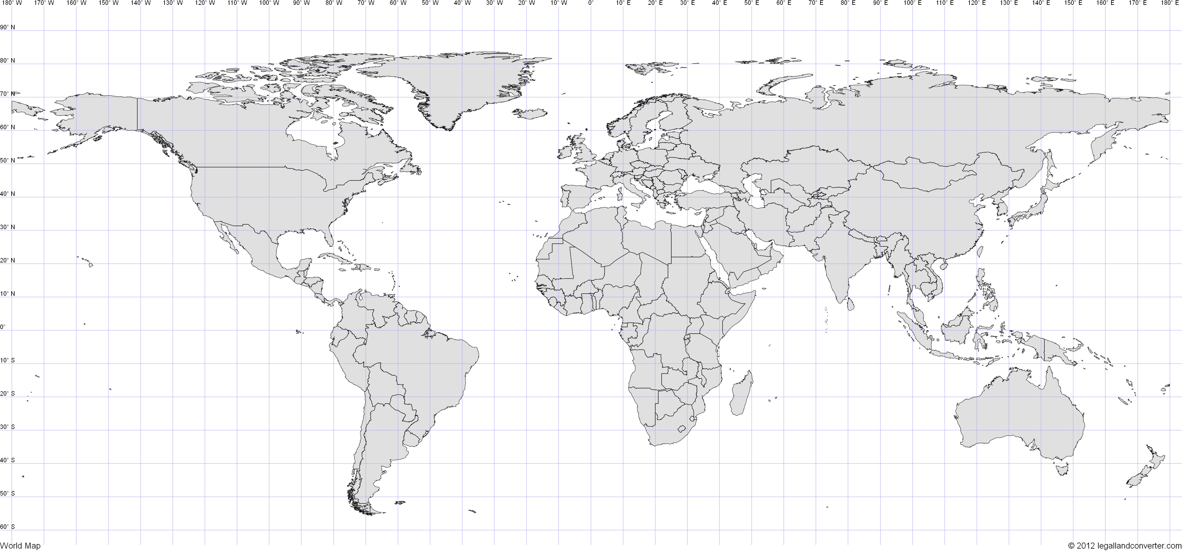 World Map With Latitude And Longitude Grid | Campus Map