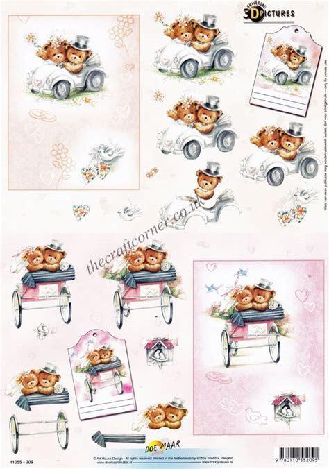 Wedding Day Teddy Bears 3d Decoupage Craft Sheet