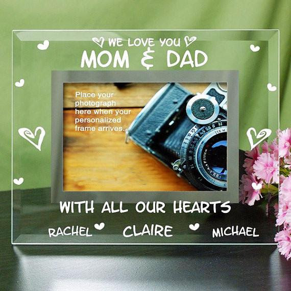Engraved Mom And Dad Hearts Glass Photo Frame Personalized