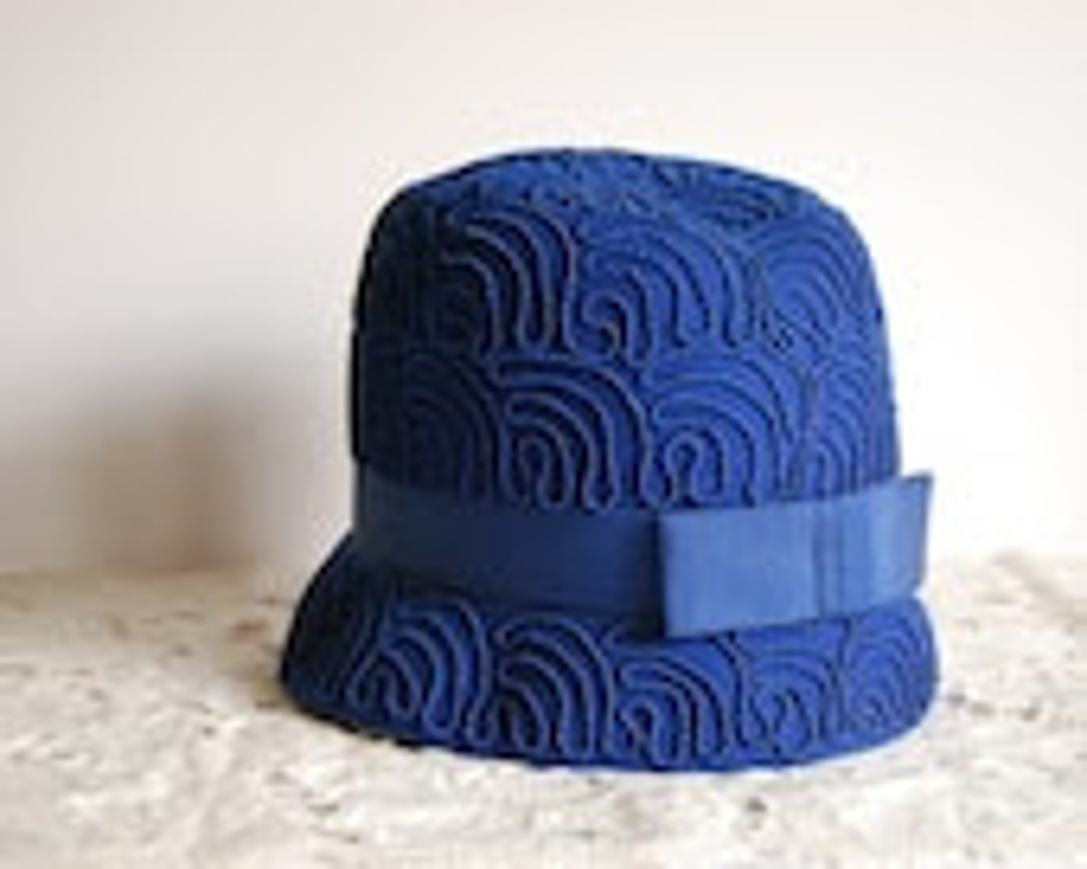 1960s Vintage Hat Mod Cloche Valerie Modes Cobalt Blue Wool - CalloohCallay