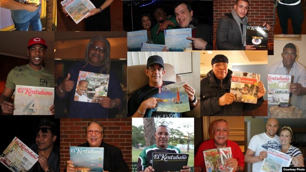 Varios famosos cubanos posan con la revista El Kentubano, publicación que dirige Luis David Fuentes.