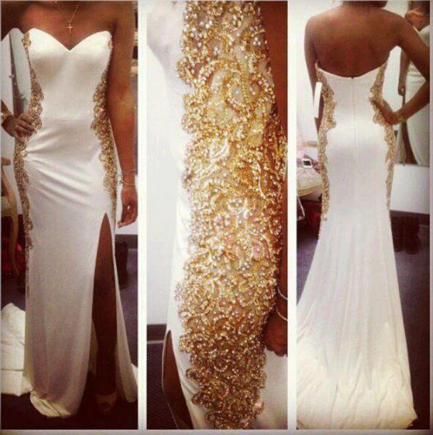 Gold evening maxi dresses
