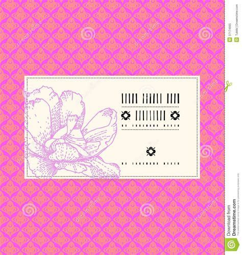 Vector Vintage Card With Peony Flower Stock Vector   Image