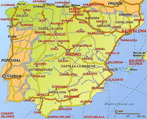 Karta Spanien Granada.Karta Spanien Kusten Karta