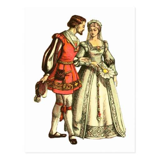 Senhor e senhora medievais do ~ da ilustração do cartão postal