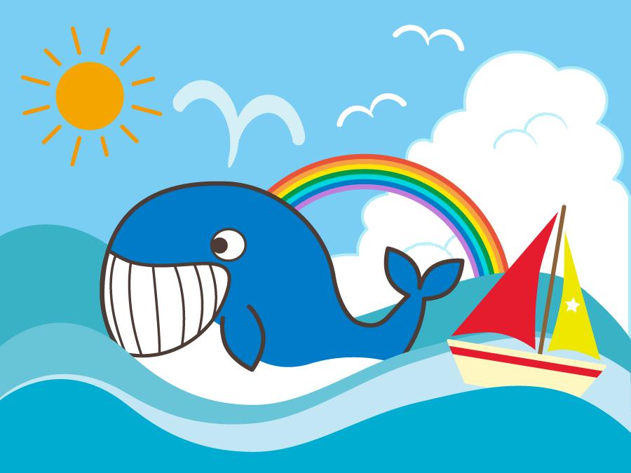 フリーイラスト クジラとヨットと虹と海でアハ体験 Gahag 著作権